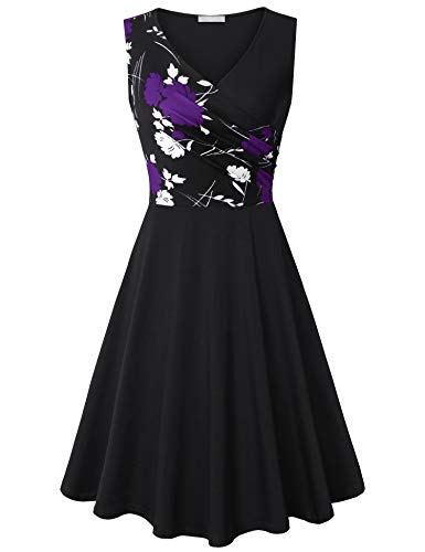 Vintage Neck Violet V Party Women's Pockets Cross Floral Black with Dress Cocktail Furnex x1wq5aIFI