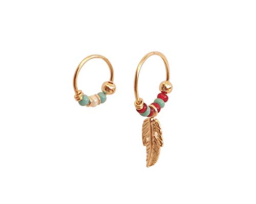 Summer Sale! Set of 2 Small Beaded Gold Hoop Earrings, 11mm Feather Turquoise Red Beaded Hoop Earring, 8mm Turquoise White Beaded Tiny Hoop for Nose Ring, Helix, Cartilage, Handmade Hoops