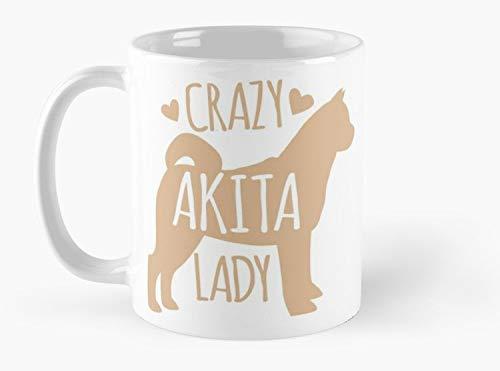 Crazy Akita (DOG) Lady Mug, Standard Mug Mug Coffee Mug Tea Mug - 11 oz Premium Quality printed coffee mug - Unique Gifting ideas for Friend/coworker/loved ones