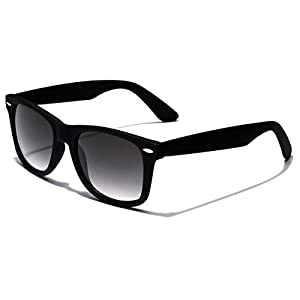 Colorful Retro Fashion Sunglasses - Smooth Matte Finish Frame - Black
