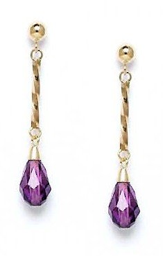 Yellow Briolette Purple Crystal Earrings