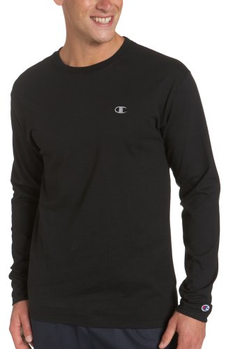 Champion Men's Long Sleeve T-Shirt, Black, Large