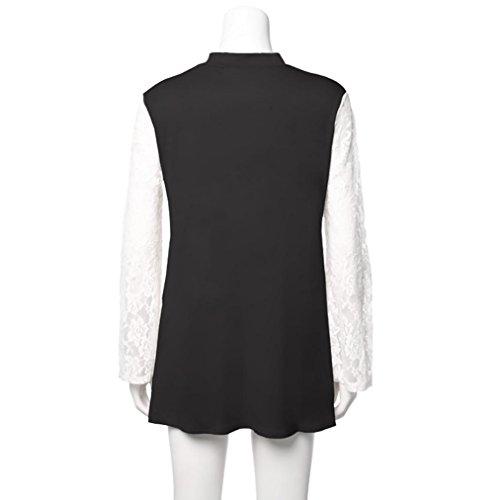 Malloom à col manches dentelle T femme à V en S décontracté Noir pour Gris en shirt longues 8qB8RwIzr