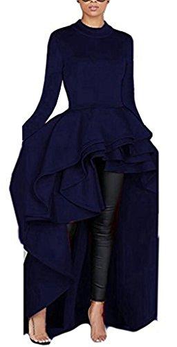 Asymmetrical Gown - Kearia Women Ruffle High Low Asymmetrical Turtleneck Long Sleeves Bodycon Tops Blouse Shirt Dress Blue Large
