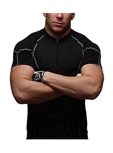 ARJOSA Men's Zip up Stand Collar Quick-Dry Base Layer Compression Sports Training T-Shirt (Large, 2 ()