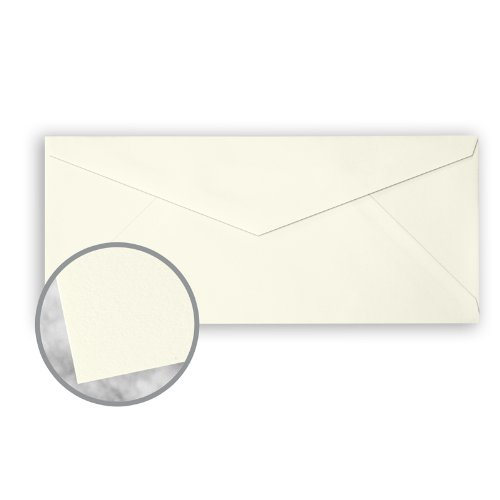 CRANE'S CREST Pearl White Envelopes - No. 10 V-Flap (4 1/8 x 9 1/2) 28 lb Writing Wove 100% Cotton Watermarked 500 per Box by Neenah