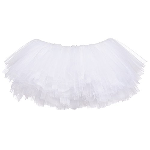 (My Lello Little Girls 10-Layer Short Ballet Tulle Tutu Skirt (4 mo. - 3T) -White)