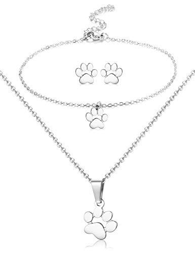(ORAZIO Paw Necklace Earrings Bracelet for Women Dog Paw Print Pendant Necklace Stud Earrings Charm Bracelet Stainless Steel Dog Jewelry Set Silver Tone)