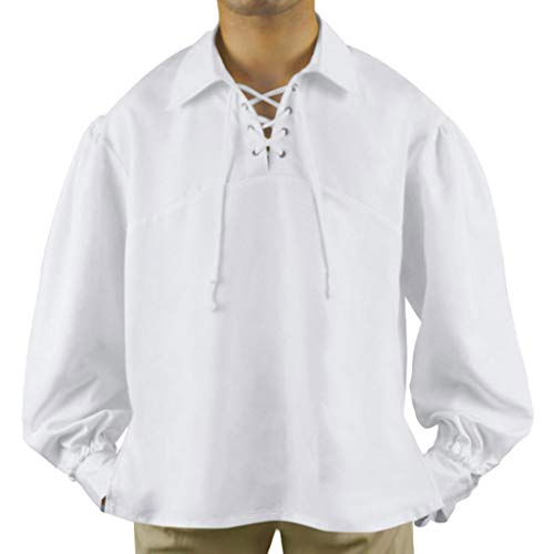 Mens Vintage Medieval Pirate Shirt Drawstring Collar Long Binding Puff Sleeve Retro Tops Cosplay Costume for Halloween(XL,White) -