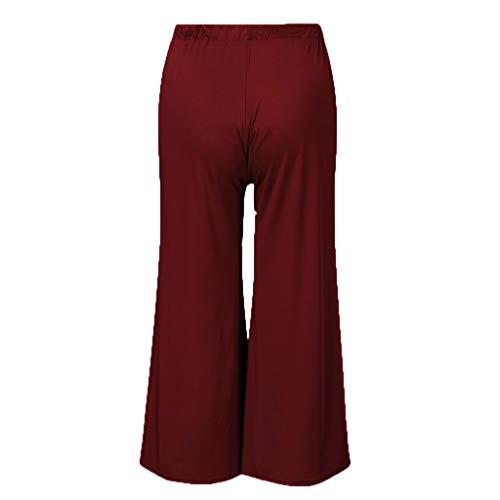 Cegduyi Pregnant Women Solid Color Straight Wide Leg Pants Seven Points Pregnant Women Pants