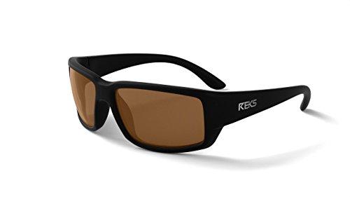 REKS Polarized Unbreakable WRAP AROUND Sunglasses, Black Frame, Brown Lens