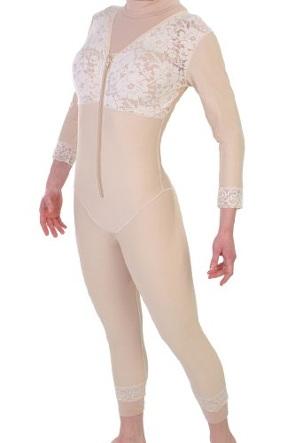 Post Surgery - Mid Thigh Body Shapewear - No Zippers | ContourMD : Style 27NZ - Large Beige by ContourMD