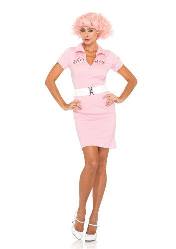 Leg Avenue Grease Women's 2 Piece Beauty School Drop Out Button Front Dress And Belt, Pink,
