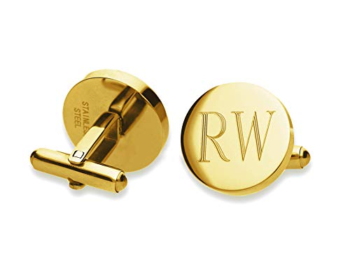 (Personalized Gold-Tone Custom Monogram Initial Cufflinks Cuff Links Stainless Steel Engraved)