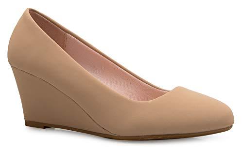 (OLIVIA K Women's Adorable Low Wedge Heel Shoe - Easy Low Pumps - Basic Slip On, Comfort)