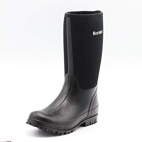 NORTHIKEE Men's Rain Boots Rubber Hunting Waterproof Insulated Slip Resistant Neoprene Black Upper Outdoor Snow Durable Boots Size 8 ()