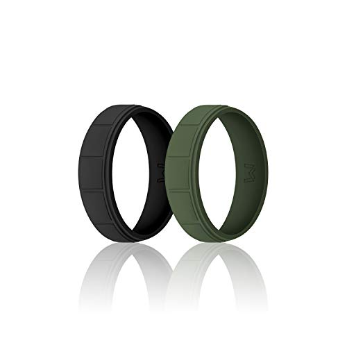 - WIGERLON Mens Silicone Wedding Ring &Rubber Wedding Bands Width 8.7mm Pack of 2 Size 10