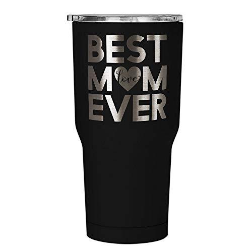 Inspired Silver - Best Mom Coffee Mug - Engraved Stainless Steel Travel Mug - Best Mum Gift Tumbler - Best Mom Coffee Travel Mug - Mothers Day Gift And Birthday Gifts For Mom - 30 oz (Black)
