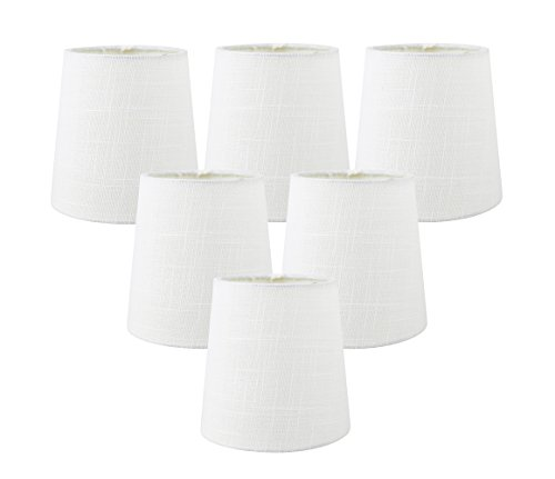 Shade Drum Chandeliers (Meriville Set of 6 Off White Linen Clip On Chandelier Lamp Shades, 4-inch by 5-inch by 5-inch)