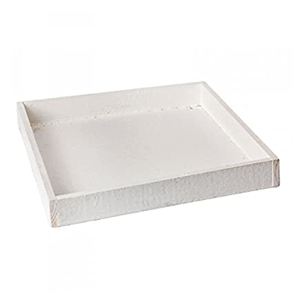 Bandeja de madera 30x30x4cm Blanca, rústico