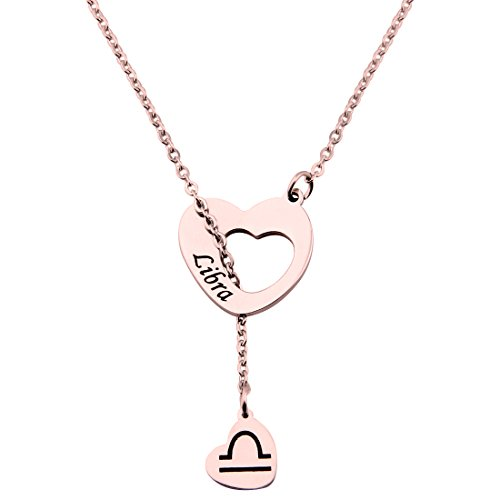 Libra Zodiac (ENSIANTH Rose Gold Zodiac Signs Heart Necklace Stainless Steel Lariat Y Necklace Best Birthday Gift (Libra))
