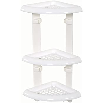 Zenna Home 480W, Corner Bath and Shower Caddy, White