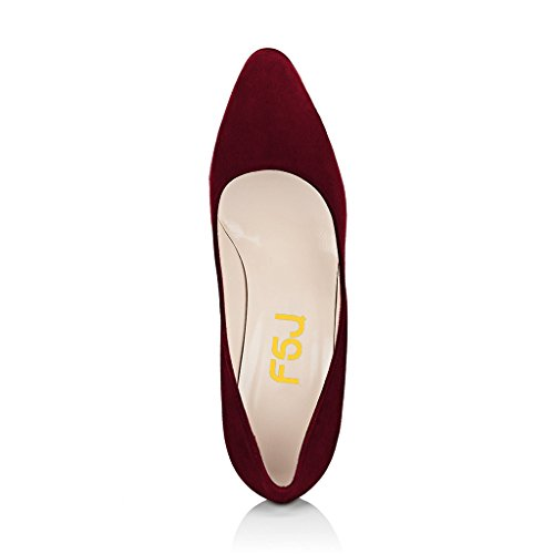 FSJ Women Classic Closed Toe Pumps Chunky High Heels Slip On Faux Suede Dress Shoes Size 4-15 US Wine eastbay for sale cheap prices authentic for cheap price cheap sale many kinds of VNHLy3aGe