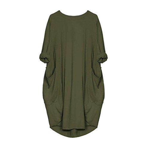 mujer de señoras casual de suelto de Vestidos tops playa Ejercito verano Verde talla Vestido Vestido mujer moda de grande Amlaiworld largos STqIF