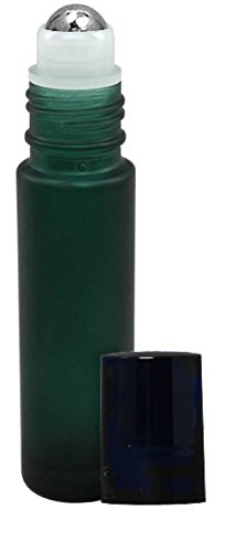 Perfume Studio 10ml /.33oz Frosted Green Glass Metal Ball Roll Ons (5 Roller - Roll Perfume 0.33 Ounce