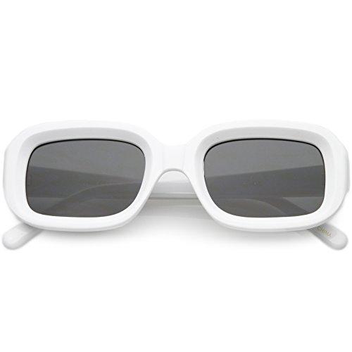 sunglassLA - Chunky Rectangle Sunglasses Neutral Colored Lens 50mm (Shiny White/Smoke) from sunglassLA