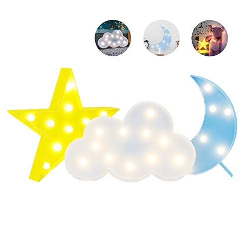 Stars Decorations Moon (Luckiey Decorative LED Crescent Moon Star Cloud Night Lights for Kids and Adults, Baby Nursery, Birthday Party, Holiday Decorations, Kid's Room Decor)