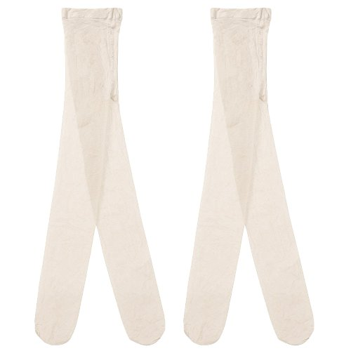 Country Kids Little Girls' Sheer Dressy Footed Pantyhose Tights, Pack of 2, Fits 3-5 years, Ivory