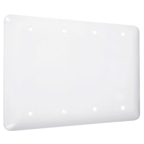 TayMac WRW-BBBB Maxi/Princess Metallic Wallplate with Blank, Four Gang, White Smooth