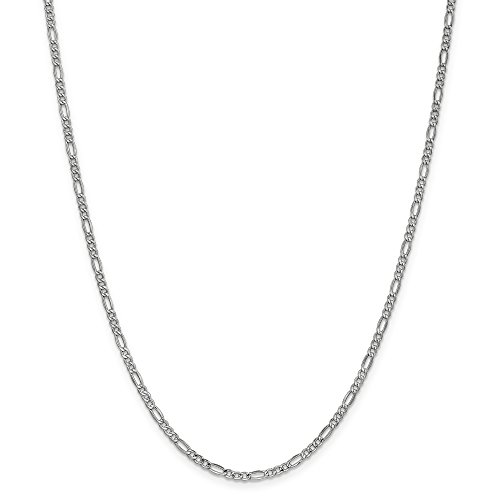 14k White 20in Gold Solid Lightweight Figaro Necklace Chain (Jewelry Pot 14k Gold Chain)