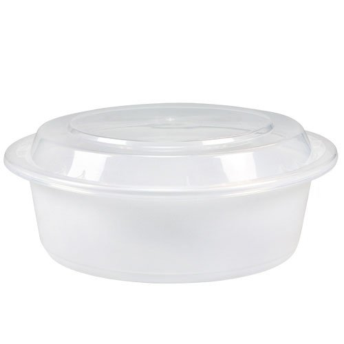 KZ Industrial 05147 Round White Microwaveable Container with Lid, Kari Out 7