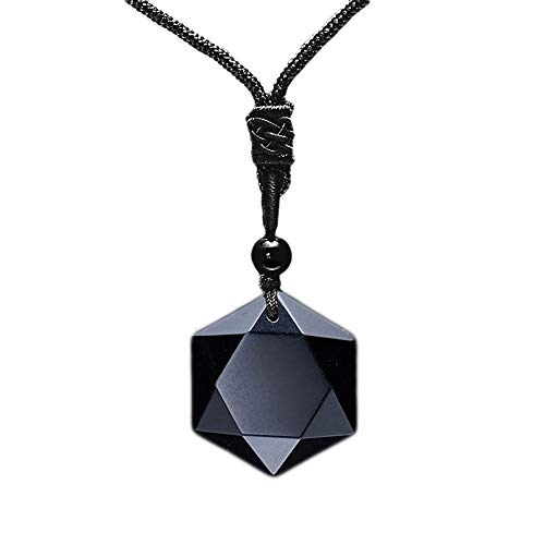 MENGLINA Black Obsidian Hexagram Natural Stone Necklace Translucent Ice Obsidian Wolf Tooth Amulet His and Hers Couples Necklace Lucky Love Pendant Necklace for Men Women (Black Obsidian)