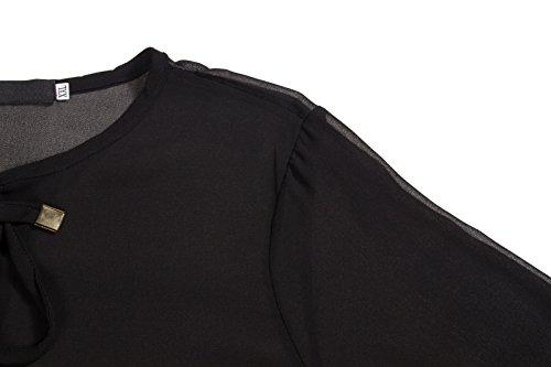 Beauty7 Camisetas Mujer Suelto Mangas Larga Cuello Redondo Vendaje Blusas T Shirt Camisas Tops Tee Parte Superior Casual Ropas Ocasionales Negro