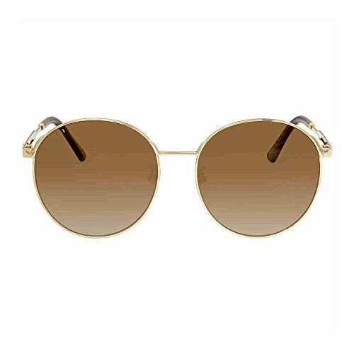 Gucci Round Sunglasses (Gucci GG 0206SK 003 Gold Metal Round Sunglasses Brown Gradient Lens)