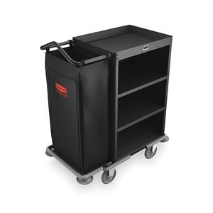 Rubbermaid – Carro de limpieza, negro, acero, 3 estantes