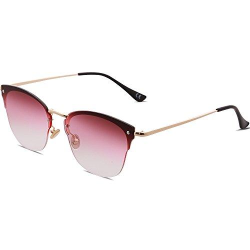 polarizadas Gradiente sin lente montura Gafas Clubmaster de 1071c7 Brazo sol Dorado SOJOS transparente SJ5018 Lente Rosa Semi wtAUxBqnn