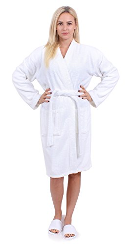 Turkuoise Women's Terry Cloth Robe 100% Premium Turkish Cotton Terry Kimono Collar (Large/One Size, White) ()