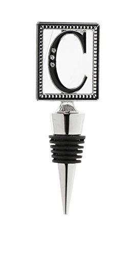Regal Bottle Stopper - Ganz Initial C Jewel Tone Accent Studded Onyx 1.75 x 4.5 Zinc Alloy Bottle Topper