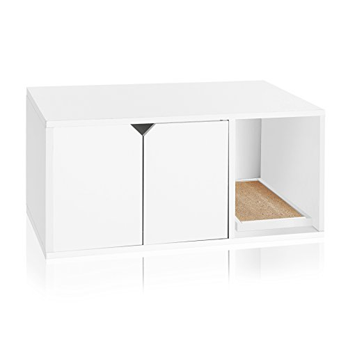 Way Basics Eco Friendly Modern Cat Litter Box Furniture Enclosure, White (Tool-Free Assembly and Uniquely Crafted from Sustainable Non Toxic zBoard paperboard)