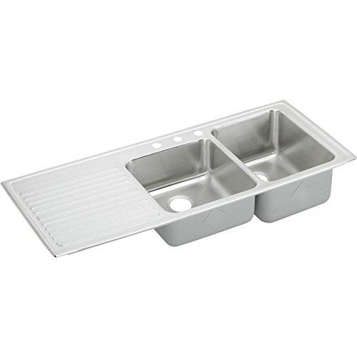 Elkay ILGR5422R1 1-Hole Gourmet Lustertone Stainless Steel 54-Inch x 22-Inch Double Basin Top-Mount Kitchen (Lustertone Double Bowl Corner Sink)