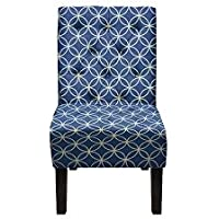 Carabelle BIAC0002NVP Penelope Chair, Navy/White Pattern