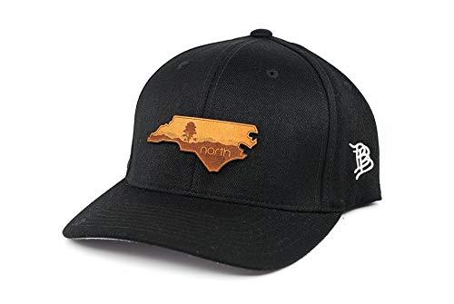 Blue Ridge Leather (Branded Bills North Carolina 'The Blue Ridge' Leather Patch Hat Flex Fit - LG/XL / Black)