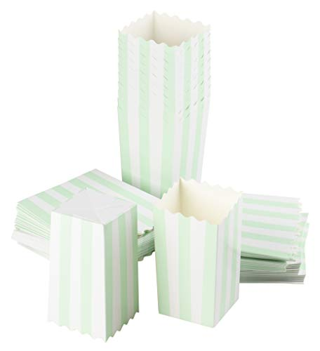 Set of 100 Popcorn Favor Boxes - Carnival Parties 20oz Mini Paper Popcorn and Candy Containers, Party Supplies for Gender Reveal, Birthday, Baby Shower, Mint Green and White - 3.3 x 5.5 x 3.3 Inches
