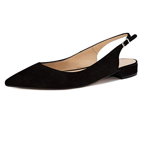 - Eldof Women Low Heels Pumps | Pointed Toe Slingback Flat Pumps | 2cm Classic Elegante Court Shoes Black Suede US13