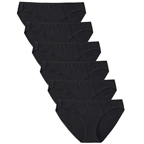 GNEPH Women's Cotton Bikini Panties Low Rise Hipster Underwear Soft Breathable High-Cut Briefs Panty Packs(1801Black,M)
