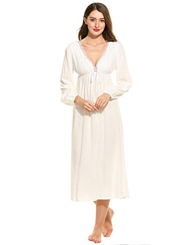 (Ekouaer Women's Cotton Victorian Vintage Lace Long Nightgown Sleepwear,White,Tag X-Large(US 10) )
